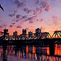 Little Rock Bridge Sunset by Mitchell R Grosky