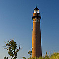 Little Sable Lighthouse On The Dune By Silver Lake Michigan No.560 by Randall Nyhof