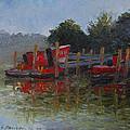 Little Tugs In Holland Michigan by Art Nomad Sandra  Hansen