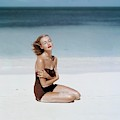 Liz Benn Sitting On A Beach by John Rawlings