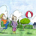 Elliot And Ella Playing With A Balloon by Bertrand Dugas