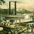 Loading Cotton On The Mississippi, 1870 Colour Litho by N. Currier