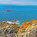 Lobster Boat Checking Traps In Louisbourg Bay-ns by Ruth Hager