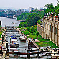 Locks On Rideau Canal East Of Parliament Building In Ottawa-on by Ruth Hager