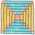 Log Cabin Variation - Retro Seafoam by Sandy MacGowan