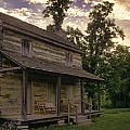 Log House Dusk by Heather Applegate