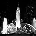 Logan Square Fountain At Night In Black And White by Bill Cannon