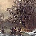 Loggers On A Frozen Waterway by Heinrich Hofer