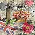 London England Vintage Travel Collage  by Mary Hubley