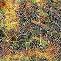 London Map Brown by Bekim Art