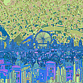 London Skyline Abstract 8 by Bekim Art