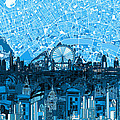 London Skyline Abstract Blue by Bekim Art