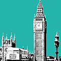 London Skyline Big Ben - Teal by DB Artist