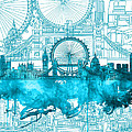 London Skyline Vintage Blue 2 by Bekim Art