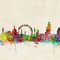 London Skyline Watercolour by Michael Tompsett