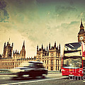 London The Uk Red Bus Taxi Cab In Motion And Big Ben by Michal Bednarek