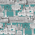 London Toile Blue by MGL Meiklejohn Graphics Licensing