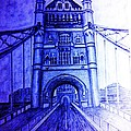 London Tower Bridge Tinted Blue by Irving Starr