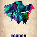 London Watercolor Map 2 by Naxart Studio