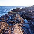 Lone Person On Rocks At Pemaquid Point by Frank Tozier