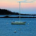 Lone Sailboat At York Maine by Denyse Duhaime