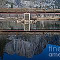 Lone Tourist And  Yosemite Falls Reflection by Dan Hartford