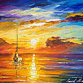Lonely Sea 2 - Palette Knife Oil Painting On Canvas By Leonid Afremov by Leonid Afremov