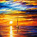 Lonely Sea 3 - Palette Knife Oil Painting On Canvas By Leonid Afremov by Leonid Afremov
