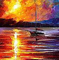 Lonely Yacht - Palette Knife Oil Painting On Canvas By Leonid Afremov by Leonid Afremov