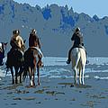 Long Beach Horses Study by Jacqueline  DiAnne Wasson