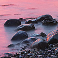 Long Exsposure Of Rocks And Waves At Sunset Maine by Keith Webber Jr
