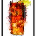 Long Island Iced Tea Cocktail Marker Sketch by Elaine Plesser
