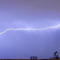 Long Lightning Bolt Strike Across Oil Well Country Sky by James BO  Insogna