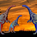 Long Necked Long Tailed Family Of Dinosaurs At Sunset by Elaine Plesser