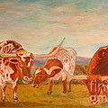 Longhorns On The Plateau by Jodie  Scheller
