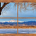 Longs Peak Across The Lake Barn Wood Picture Window Frame View by James BO  Insogna