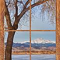Longs Peak Winter Lake Barn Wood Picture Window View by James BO Insogna