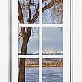 Longs Peak Winter View Through A White Window Frame by James BO Insogna