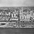 Looking Up Flagler Street At Downtown Miami by Underwood Archives