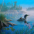 Loon Family by Don Ningewance