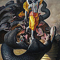 Lord Krishna Subdueing Kaliya by Satchitananda das Saccidananda das
