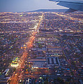 Los Angeles Aerial Overview On Approach To Lax At Night  by David Zanzinger