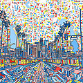 Los Angeles Skyline Abstract 3 by Bekim Art