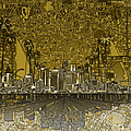 Los Angeles Skyline Abstract 4 by Bekim Art