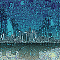 Los Angeles Skyline Abstract 5 by Bekim Art