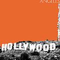 Los Angeles Skyline Hollywood - Coral by DB Artist