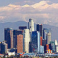 Los Angeles Skyline With Mountains In Background by Jon Holiday