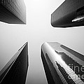 Los Angeles Skyscraper Buildings In Black And White by Paul Velgos