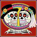 Los Novios Sugar Skulls by Tammy Wetzel
