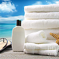 Lotion  Towels And Sandals With Ocean Scene by Sandra Cunningham